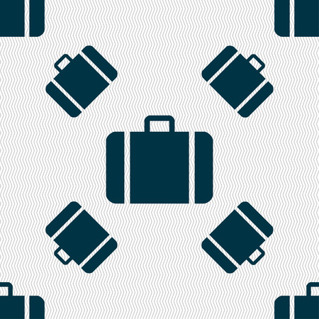 suit case: suitcase icon sign. Seamless pattern with geometric texture. Vector illustration Illustration