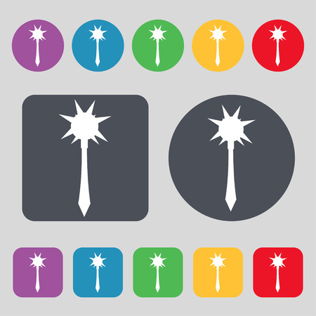battle evil: Mace icon sign. A set of 12 colored buttons. Flat design. Vector illustration