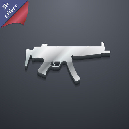 machine gun: machine gun icon symbol. 3D style. Trendy, modern design with space for your text Vector illustration