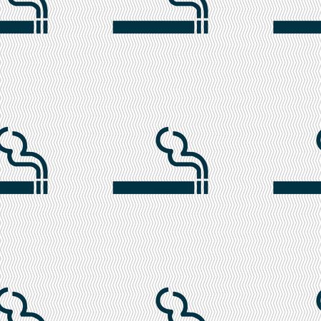 smoldering: fumo di sigaretta segno icona. Seamless pattern con struttura geometrica. Illustrazione vettoriale Vettoriali