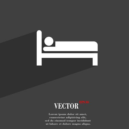 ホテル アイコンの記号平らな長い影とテキストのスペースとモダンな web デザイン。ベクトル図  イラスト・ベクター素材