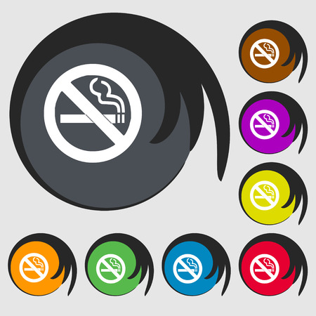 hazard damage: no smoking icon sign. Symbol on eight colored buttons. Vector illustration