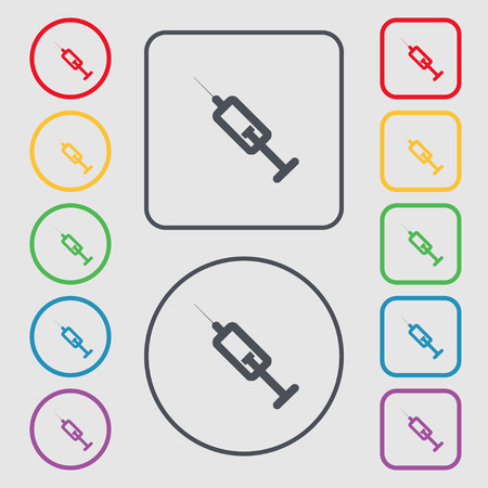 inhale: syringe icon sign. symbol on the Round and square buttons with frame. Vector illustration