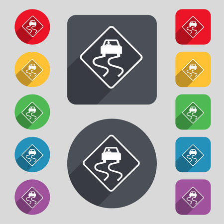 slippery: Road slippery icon sign. A set of 12 colored buttons and a long shadow. Flat design. Vector illustration