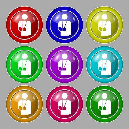 dog wheelchair: broken arm, disability icon sign. symbol on nine round colourful buttons. Vector illustration