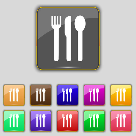 fork knife spoon: fork, knife, spoon icon sign. Set with eleven colored buttons for your site. Vector illustration Illustration