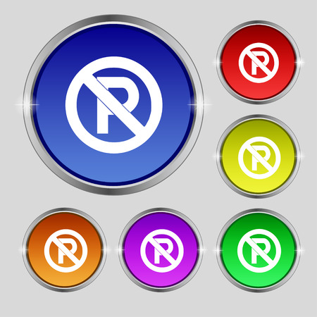 warden: No parking icon sign. Round symbol on bright colourful buttons. Vector illustration