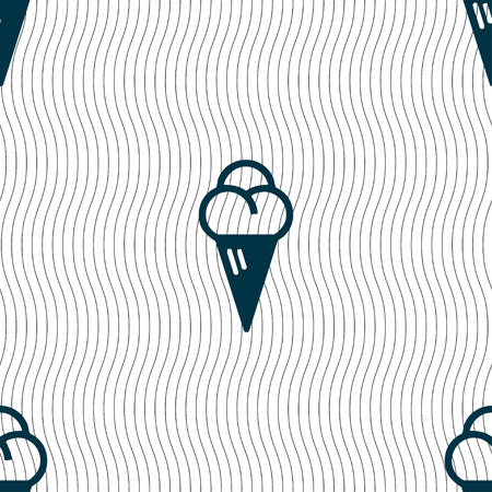 souffle: ice cream icon sign. Seamless pattern with geometric texture. Vector illustration Illustration