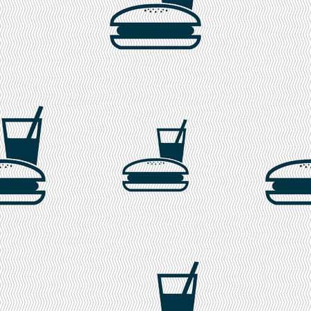 lunch box: lunch box icon sign. Seamless pattern with geometric texture. Vector illustration