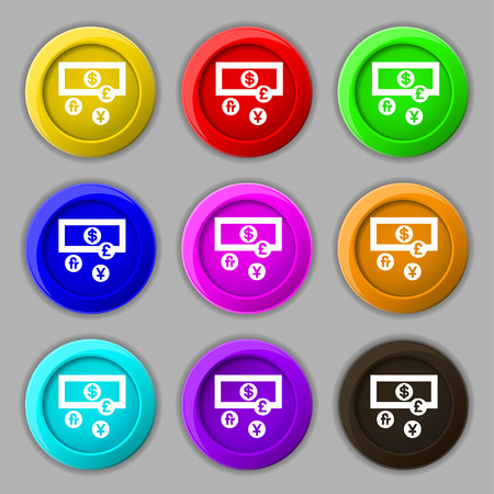 australian money: currencies of the world icon sign. symbol on nine round colourful buttons. Vector illustration