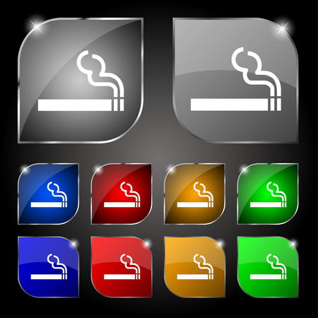 smoldering: cigarette smoke icon sign. Set of ten colorful buttons with glare. Vector illustration
