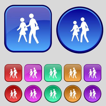 crosswalk: crosswalk icon sign. A set of twelve vintage buttons for your design. Vector illustration