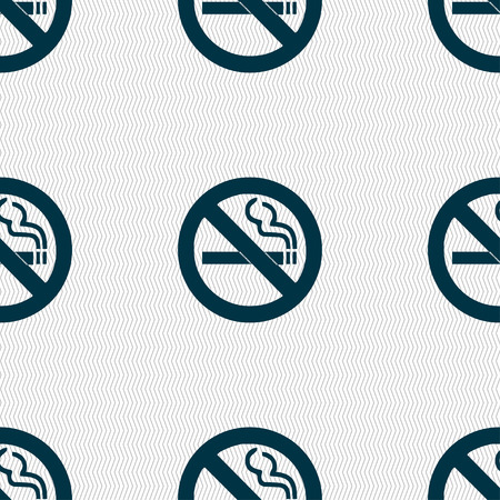cigar shape: no smoking icon sign. Seamless pattern with geometric texture. Vector illustration