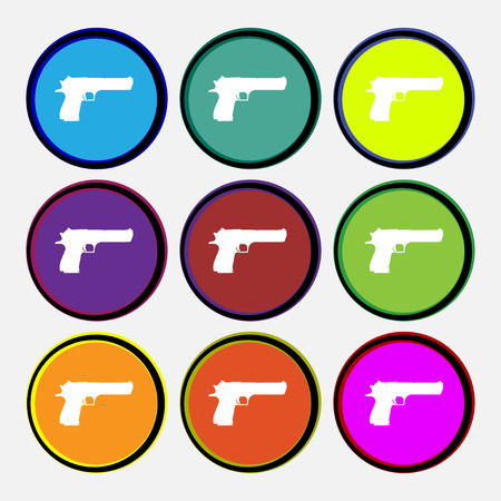 army gas mask: gun icon sign. Nine multi colored round buttons. Vector illustration Illustration