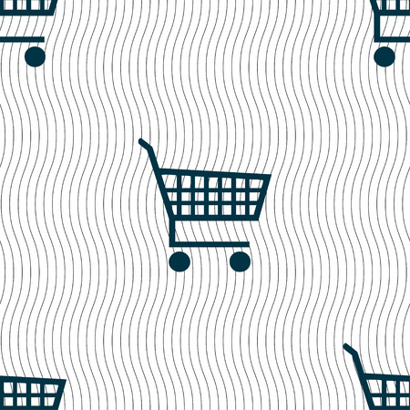 time account: shopping cart icon sign. Seamless pattern with geometric texture. Vector illustration