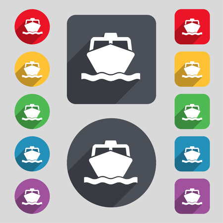 inflate boat: the boat icon sign. A set of 12 colored buttons and a long shadow. Flat design. Vector illustration Illustration