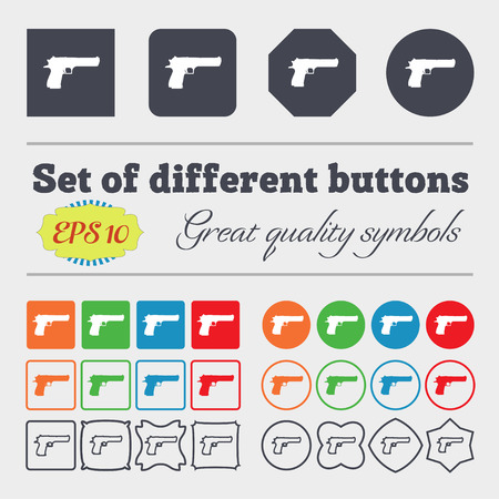 army gas mask: gun icon sign. Big set of colorful, diverse, high-quality buttons. Vector illustration Illustration