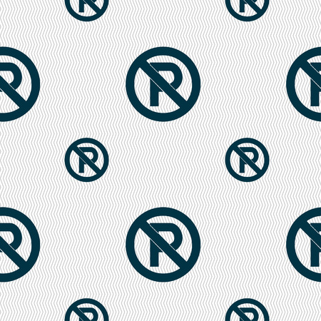 No parking icon sign. Seamless pattern with geometric texture. Vector illustration