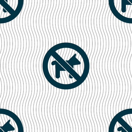 dog walking: dog walking is prohibited icon sign. Seamless pattern with geometric texture. Vector illustration