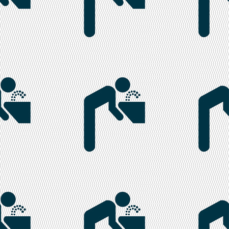drinking fountain icon sign. Seamless pattern with geometric texture. Vector illustration
