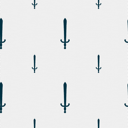 longsword: the sword icon sign. Seamless pattern with geometric texture. Vector illustration Illustration