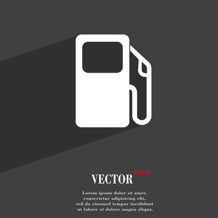 space station: Auto gas station icon symbol Flat modern web design with long shadow and space for your text. Vector illustration