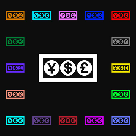 currency converter: Cash currency icon sign. Lots of colorful symbols for your design. Vector illustration