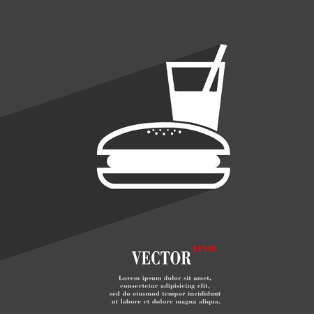 lunch box: lunch box icon symbol Flat modern web design with long shadow and space for your text. Vector illustration