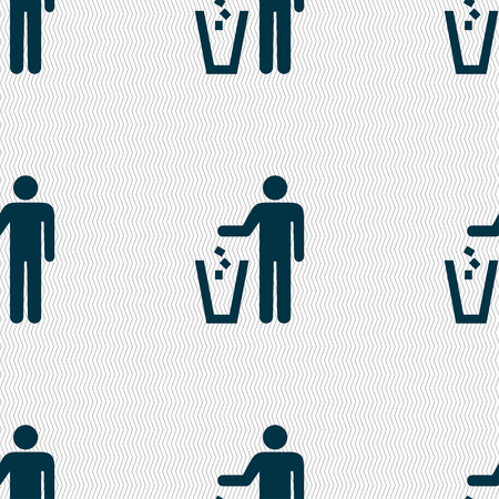 scrunched: throw away the trash icon sign. Seamless pattern with geometric texture. Vector illustration Illustration