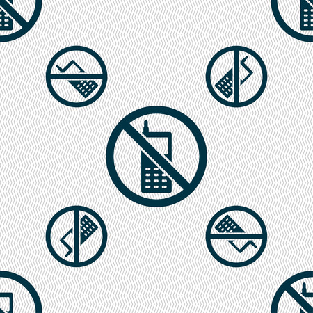 shut off: mobile phone is prohibited icon sign. Seamless pattern with geometric texture. Vector illustration Illustration