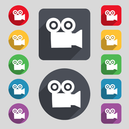 journalistic: video camera icon sign. A set of 12 colored buttons and a long shadow. Flat design. Vector illustration
