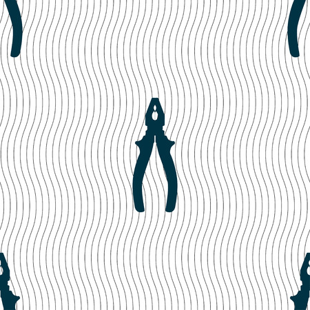 cable cutter: pliers icon sign. Seamless pattern with geometric texture. Vector illustration