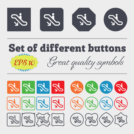 electronic guide: elevator, Escalator, Staircase icon sign. Big set of colorful, diverse, high-quality buttons. Vector illustration