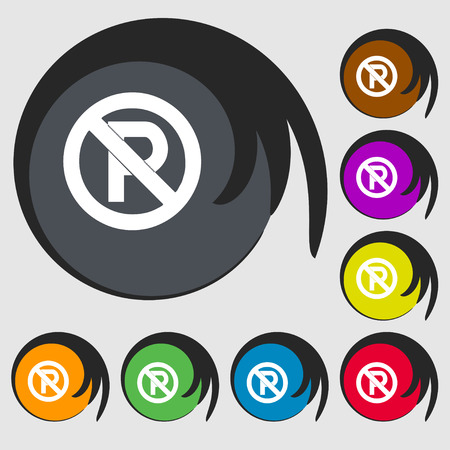 warden: No parking icon sign. Symbol on eight colored buttons. Vector illustration