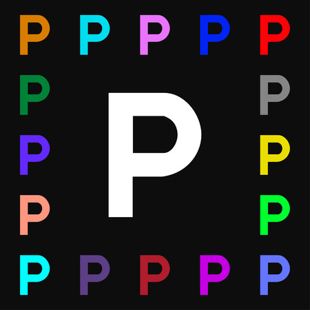 parking icon sign. Lots of colorful symbols for your design. Vector illustration