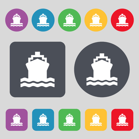 brigantine: ship icon sign. A set of 12 colored buttons. Flat design. Vector illustration