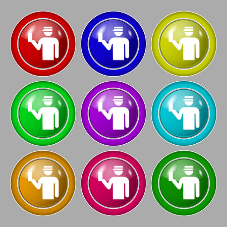 inspector: Inspector icon sign. symbol on nine round colourful buttons. Vector illustration