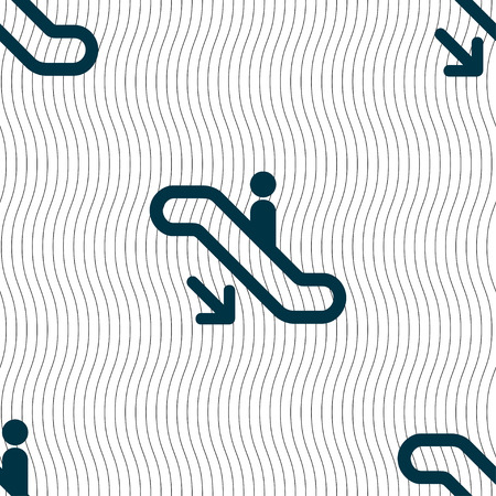 electronic guide: elevator, Escalator, Staircase icon sign. Seamless pattern with geometric texture. Vector illustration