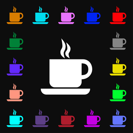 contemporary taste: coffee icon sign. Lots of colorful symbols for your design. Vector illustration