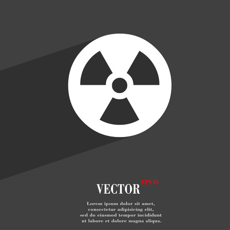 cold fusion: radiation icon symbol Flat modern web design with long shadow and space for your text. Vector illustration
