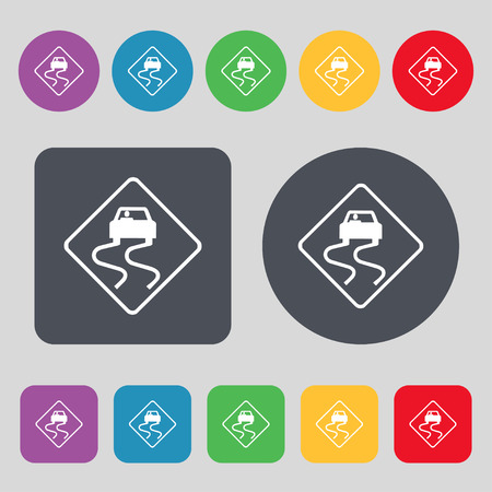 curve ahead sign: Road slippery icon sign. A set of 12 colored buttons. Flat design. Vector illustration