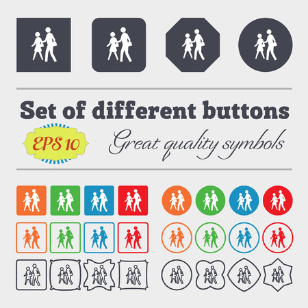 crosswalk: crosswalk icon sign. Big set of colorful, diverse, high-quality buttons. Vector illustration Illustration