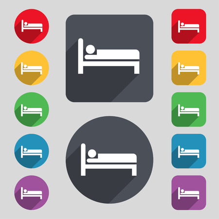 apartment bell: Hotel icon sign. A set of 12 colored buttons and a long shadow. Flat design. Vector illustration