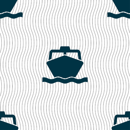 inflate boat: the boat icon sign. Seamless pattern with geometric texture. Vector illustration Illustration