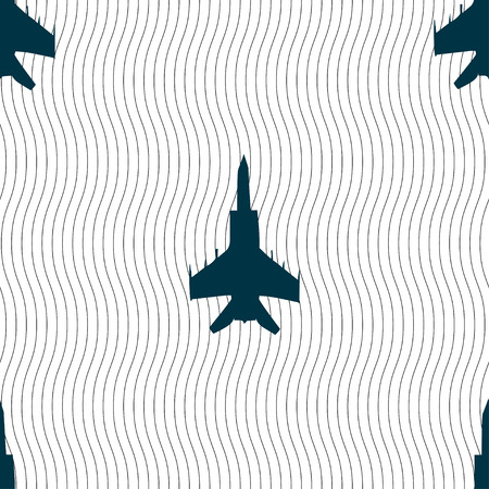 airbus: fighter icon sign. Seamless pattern with geometric texture. Vector illustration