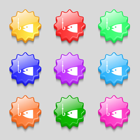 floater: Fishing icon sign. symbol on nine wavy colourful buttons. Vector illustration Illustration
