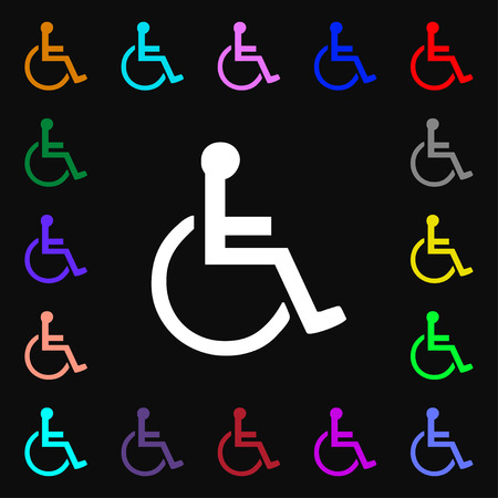 dog wheelchair: disabled icon sign. Lots of colorful symbols for your design. Vector illustration