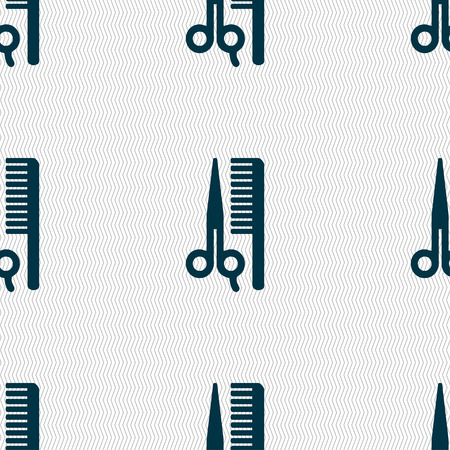 coiffeur: hair icon sign. Seamless pattern with geometric texture. Vector illustration Illustration