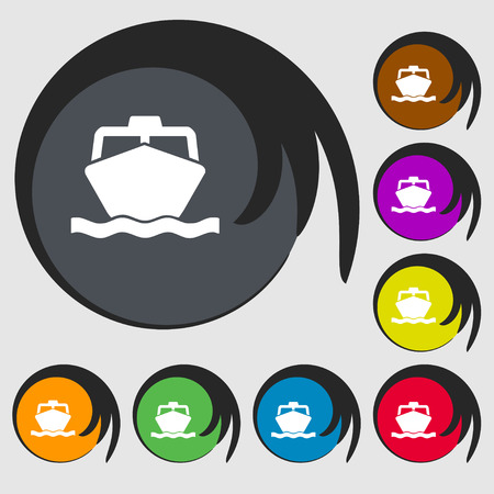 inflate boat: the boat icon sign. Symbol on eight colored buttons. Vector illustration Illustration