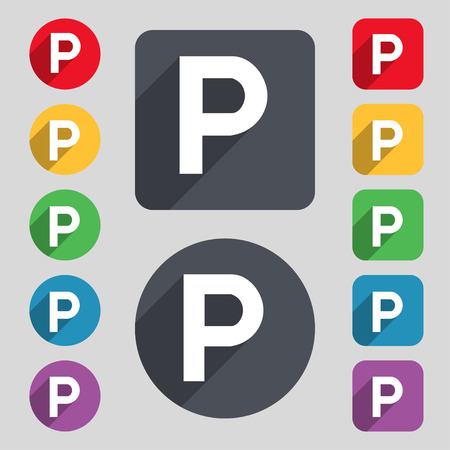 parking icon sign. A set of 12 colored buttons and a long shadow. Flat design. Vector illustration